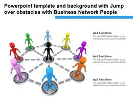 Powerpoint Template And With Jump Over Obstacles With Business Network People