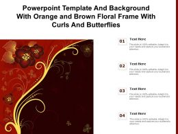 Powerpoint Template And With Orange And Brown Floral Frame With Curls And Butterflies