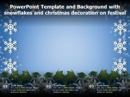 Powerpoint Template And With Snowflakes And Christmas Decoration On Festival