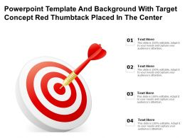 Powerpoint Template And With Target Concept Red Thumbtack Placed In The Center