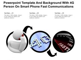 Powerpoint Template Background With 4g Person On Smart Phone Fast Communications