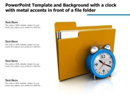 Powerpoint Template Background With A Clock With Metal Accents In Front Of A File Folder