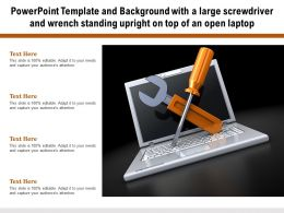 Powerpoint Template Background With A Large Screwdriver And Wrench Standing Upright On Top Of An Open Laptop