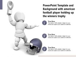 Powerpoint Template Background With American Football Player Holding Up The Winners Trophy