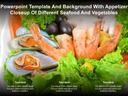 Powerpoint Template Background With Appetizer Closeup Of Different Seafood Vegetables