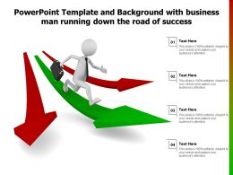 Powerpoint Template Background With Business Man Running Down The Road Of Success