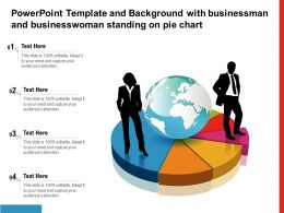 Powerpoint Template Background With Businessman And Businesswoman Standing On Pie Chart