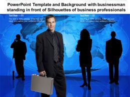 Powerpoint Template Background With Businessman Standing In Front Of Silhouettes Of Business Professionals