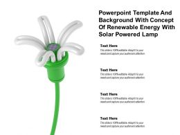 Powerpoint Template Background With Concept Of Renewable Energy With Solar Powered Lamp