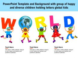 Powerpoint Template Background With Group Of Happy And Diverse Children Holding Letters Global Kids