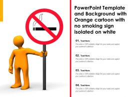 Powerpoint Template Background With Orange Cartoon With No Smoking Sign Isolated On White