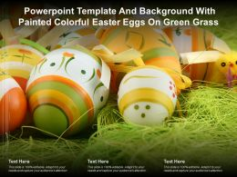 Powerpoint Template Background With Painted Colorful Easter Eggs On Green Grass