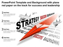 Powerpoint Template Background With Plane Red Paper On The Track For Success And Leadership