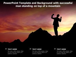 Powerpoint Template Background With Successful Man Standing On Top Of A Mountain
