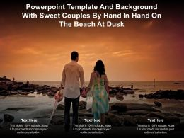 Powerpoint Template Background With Sweet Couples By Hand In Hand On The Beach At Dusk