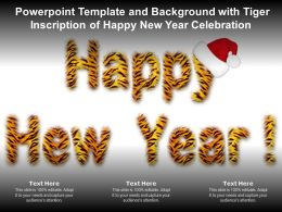 Powerpoint Template Background With Tiger Inscription Of Happy New Year Celebration