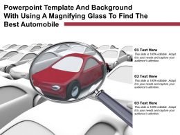 Powerpoint Template Background With Using A Magnifying Glass To Find The Best Automobile