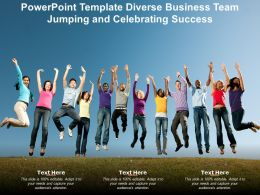 Powerpoint Template Diverse Business Team Jumping And Celebrating Success