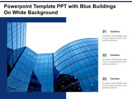 Powerpoint Template PPT With Blue Buildings On White Background