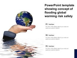 Powerpoint Template Showing Concept Of Flooding Global Warming Risk Safety