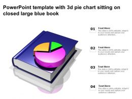 Powerpoint Template With 3d Pie Chart Sitting On Closed Large Blue Book