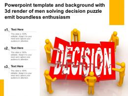 Powerpoint Template With 3d Render Of Men Solving Decision Puzzle Emit Boundless Enthusiasm