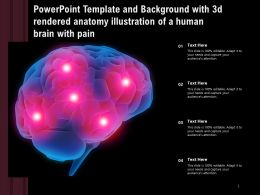 Powerpoint Template With 3d Rendered Anatomy Illustration Of A Human Brain With Pain