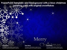 Powerpoint Template With A Blue Christmas Greeting Card With Original Snowflakes