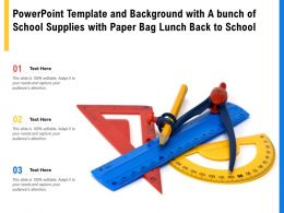Powerpoint Template With A Bunch Of School Supplies With Paper Bag Lunch Back To School
