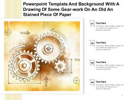 Powerpoint Template With A Drawing Of Some Gear Work On An Old An Stained Piece Of Paper