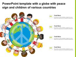 Powerpoint Template With A Globe With Peace Sign And Children Of Various Countries