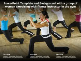 Powerpoint Template With A Group Of Women Exercising With Fitness Instructor In The Gym