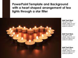 Powerpoint Template With A Heart Shaped Arrangement Of Tea Lights Through A Star Filter