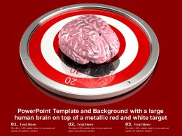 Powerpoint Template With A Large Human Brain On Top Of A Metallic Red And White Target