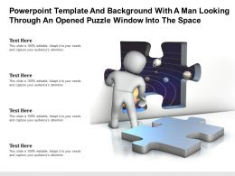 Powerpoint Template With A Man Looking Through An Opened Puzzle Window Into The Space