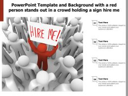 Powerpoint Template With A Red Person Stands Out In A Crowd Holding A Sign Hire Me