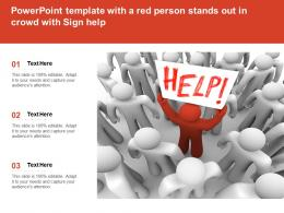 Powerpoint Template With A Red Person Stands Out In Crowd With Sign Help