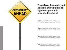 Powerpoint Template With A Road Sign Metaphor With Opportunity Ahead