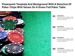 Powerpoint Template With A Selection Of Poker Chips With Values On A Green Felt Poker Table