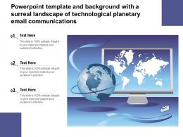 Powerpoint Template With A Surreal Landscape Of Technological Planetary Email Communications