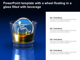 Powerpoint Template With A Wheel Floating In A Glass Filled With Beverage