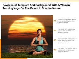 Powerpoint Template With A Woman Training Yoga On The Beach In Sunrise Nature