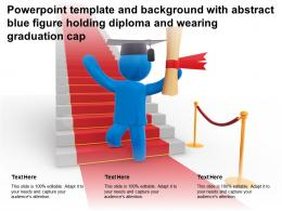 Powerpoint Template With Abstract Blue Figure Holding Diploma And Wearing Graduation Cap