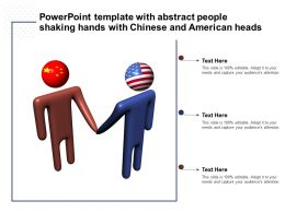 Powerpoint Template With Abstract People Shaking Hands With Chinese And American Heads