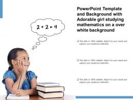 Powerpoint Template With Adorable Girl Studying Mathematics On A Over White Background