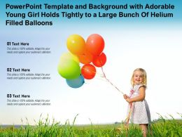 Powerpoint Template With Adorable Young Girl Holds Tightly To A Large Bunch Of Helium Filled Balloons