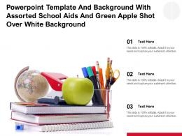 Powerpoint Template With Assorted School Aids And Green Apple Shot Over White Background