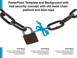 Powerpoint Template With Bad Security Concept With Old Metal Chain Padlock And Blue Rope