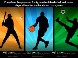 Powerpoint Template With Basketball And Soccer Player Silhouettes On The Abstract Background