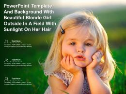 Powerpoint Template With Beautiful Blonde Girl Outside In A Field With Sunlight On Her Hair